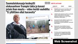 """Фото в статті газети Ilta-Sanomat з підписом: """"Промови Дональда Трампа щодо лісівництва розсмішили фіннів""""."""