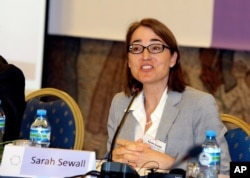 FILE - Sarah Sewall, U.S. undersecretary of state for civilian security, democracy and human rights, says DRC authorities need to draft specific plans to register voters and to assure security for elections in the country.