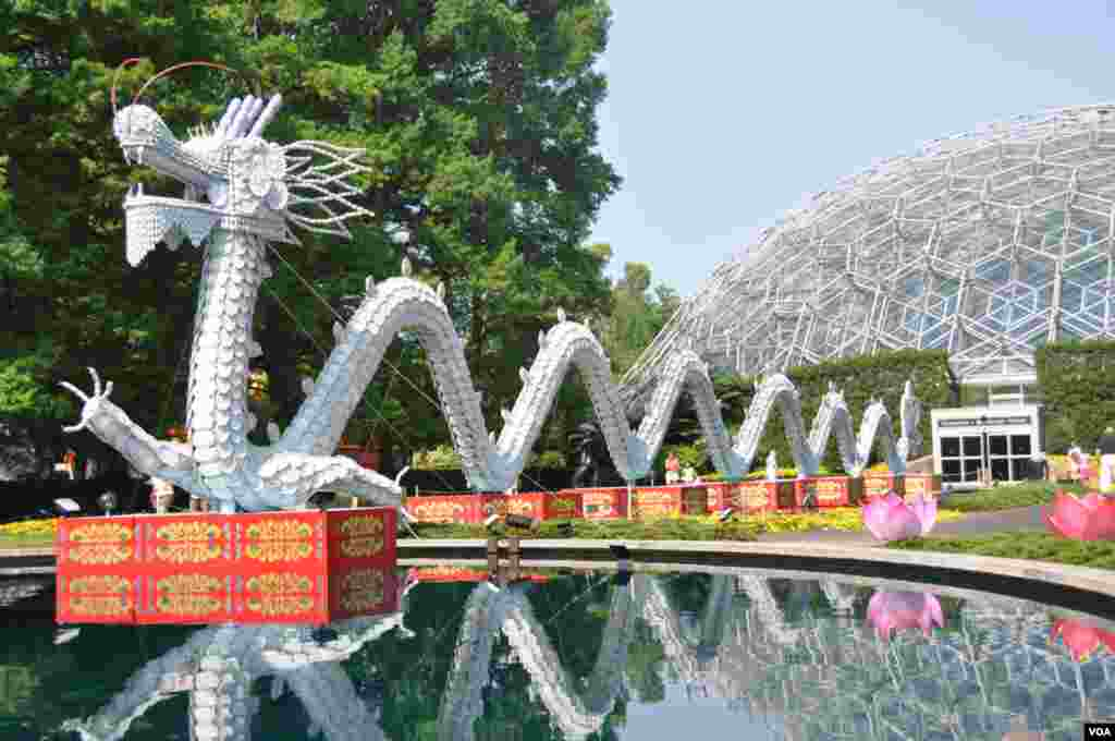 A porcelain dragon by day. At right is the Missouri Botanical Garden's Climatron, a geodesic dome-covered, 2,200-square meter conservatory. (V. LaCapra/VOA)