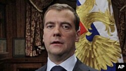 Russian President Dmitry Medvedev speaks during a statement on European anti-missile defense at his residence outside Moscow, November 22, 2011.