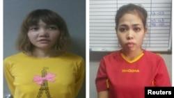 Dua terdakwa kasus pembunuhan Kim Jong-nam: Doan Thi Huong (kiri) dan Siti Aisyah.