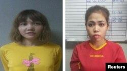 김정남 암살 혐의로 체포된 베트남 국적 도안 티 흐엉(왼쪽)과 인도네시아 국적 시티 아이사.
