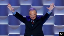 Democratic VP candidate Tim Kaine waves during the Democratic National Convention in July. (AP Photo/J. Scott Applewhite)