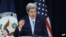 Sekretè Deta Ameriken an, John Kerry, pandan diskou li sou konfli ant Izrayèl ak Palestin nan State Department nan Wachinton. (Foto: AP 28 desanm 2016)