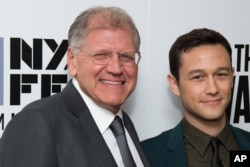 "Robert Zemeckis, left, and Joseph Gordon-Levitt attend the New York Film Festival opening night gala premiere for ""The Walk"" at Alice Tully Hall, Sept. 26, 2015, in New York."