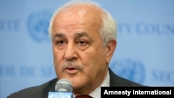 FILE - Palestinian U.N. Ambassador Riyad Mansour speaks following a meeting of the U.N. Security Council, July 28, 2014.