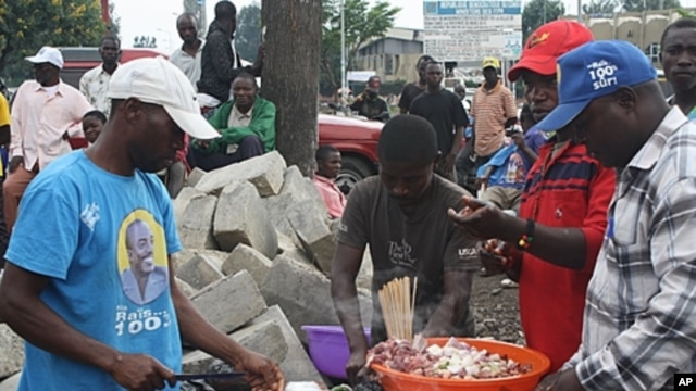 Five goats were slaughtered for a feast on the streets in Goma, the capital of the troubled North Kivu province in DRC in honor of the re-election of President Joseph Kabila.