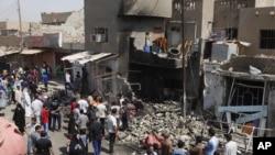 星期一發生在巴格達東南部的瑪丹的炸彈襲擊現場