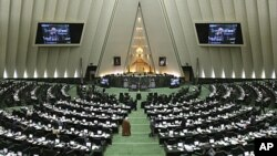 A general view shows Iranian parliament in an open session in Tehran, Iran, Sunday, Nov. 27, 2011.