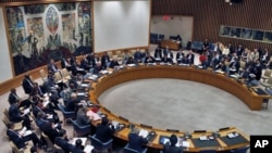 """Current U.N. Security Council President and British Ambassador to the U.N. Lyall Grant reads a """"Presidential statement"""" agreed to by the Security Council, including Russia and China, that backs U.N.-Arab League envoy Kofi Annan's bid to end violence on Sy"""