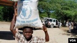 Un niño haitiano transporta alimentos de la ayuda internacional. Haití es el peor país de Latinoamérica en niveles de corrupción.