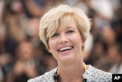 "FILE - Emma Thompson poses for photographers for the film ""The Meyerowitz Stories"" at the 70th international film festival, Cannes, France, May 21, 2017."