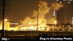 Ảnh trên trang Zing.vn cho thấy có nhiều khói bốc lên từ bên trong khu vực nhà máy thép Formosa ở Hà Tĩnh vào đêm 30/5/2017.