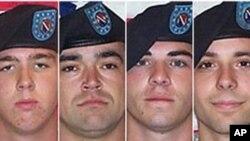 아프가니스탄 민간인을 살해한 혐의로 재판에 회부된 미군. 왼쪽부터 앤드루 홀메스, 마이클 왜그넌, 제레미 말록, 애덤 윈필드(자료사진)