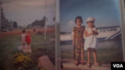 Photos of Oun Retra with her sister, Oun Sokna, from her childhood album. (Khan Sokummono/VOA Khmer)
