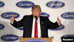 U.S. President-Elect Donald Trump speaks at an event at Carrier HVAC plant in Indianapolis, Indiana, Dec. 1, 2016.