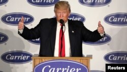 U.S. President-Elect Donald Trump speaks at an event at Carrier HVAC plant.
