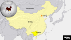 중국 광시자치구 지도.