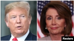 From left, President Donald Trump and House Speaker Nancy Pelosi.