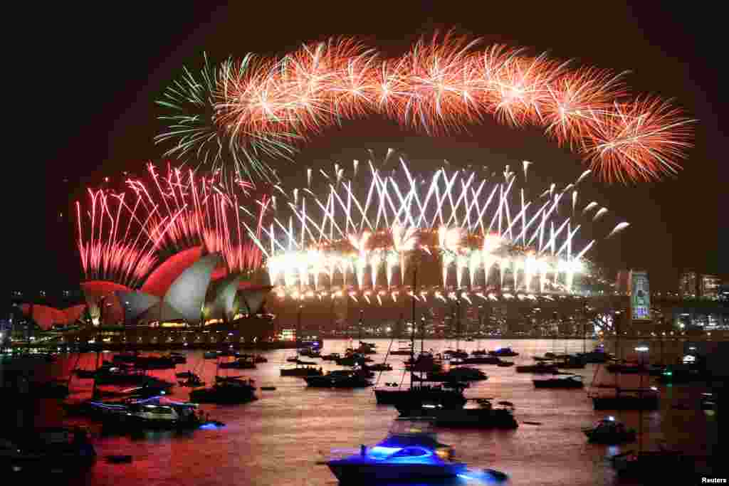 Fireworks are seen during New Year's Eve celebrations in Sydney, Australia.