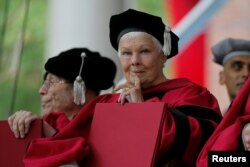 Judi Dench holds her honorary Doctor of Arts degree during the 366th Commencement Exercises at Harvard University in Cambridge, Massachusetts, May 25, 2017.