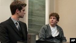 "Andrew Garfield, left, and Jesse Eisenberg in Columbia Pictures' ""The Social Network."""