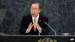 Tổng thư ký Liên hiệp quốc Ban Ki-moon phát biểu trong cuộc họp Đại hội đồng Liên hiệp quốc, 24/9/13