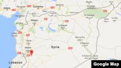 被美軍發射導彈襲擊的敘利亞軍事基地位置
