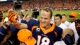Denver Broncos quarterback Peyton Manning (18) celebrates his 509th career touchdown pass with teammates during the first half of an NFL football game against the San Francisco 49ers, Sunday, Oct. 19, 2014.