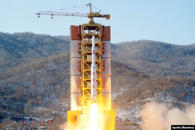 A North Korean long-range rocket is launched into the air at the Sohae rocket launch site, North Korea, in this photo released by Kyodo, Feb. 7, 2016.