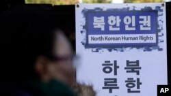 A North Korean defector calls for reform in the North during a rally in Seoul, South Korea, seeking for improvements in the human rights situation in North Korea, Tuesday, Nov. 18, 2014. (AP Photo/Lee Jin-man)