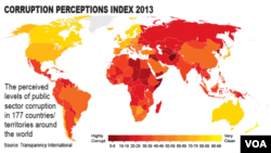 EMBARGOED-2013 Transparency International Corruption Index, World Map