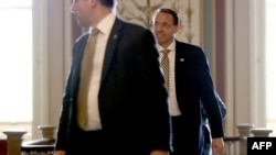 U.S. Deputy Attorney General Rod Rosenstein departs the U.S. Capitol after a closed briefing May 18, 2017 on Capitol Hill in Washington, DC.