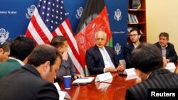 U.S. special envoy for peace in Afghanistan, Zalmay Khalilzad, center, speaks during a roundtable discussion with Afghan media at the U.S Embassy in Kabul, Afghanistan, Jan. 28, 2019.