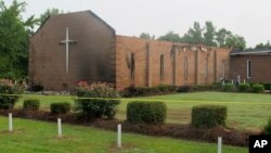 The Mount Zion AME Church in Greeleyville, South Carolina, is seen on July 1, 2015, after it was heavily damaged by fire.