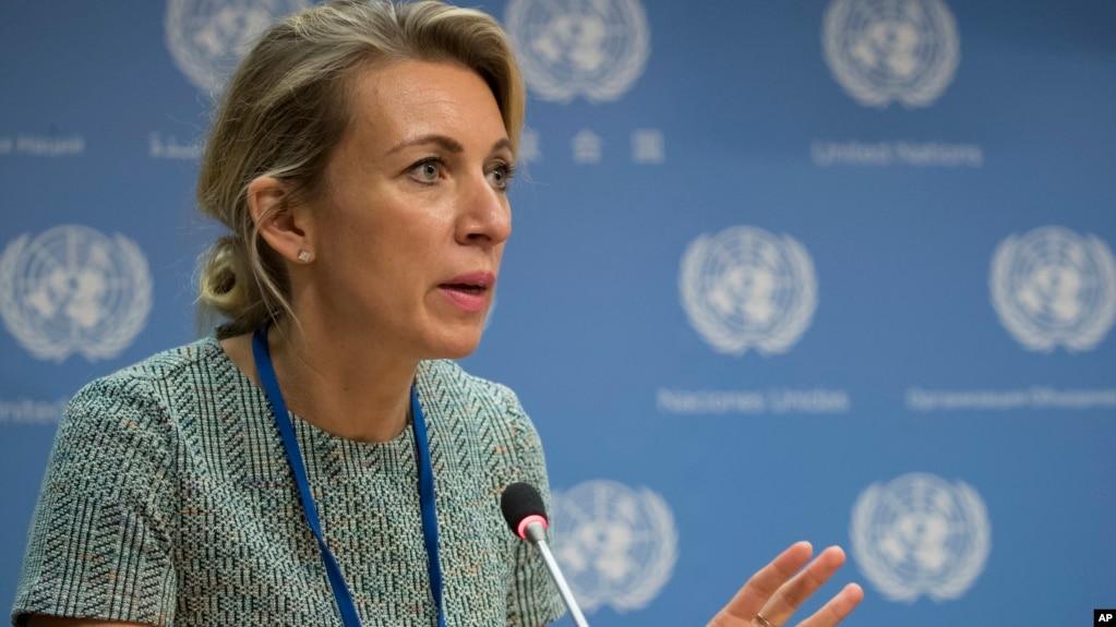 Phát ngôn viên Bộ Ngoại giao Nga Maria Zakharova trong một cuộc họp báo năm 2017