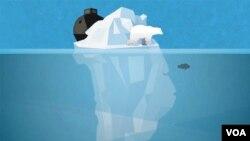 """""""Groenlandia se derrite"""". Ilustración de Brian Williamson, Voz de América."""