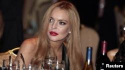 La actriz Lindsay Lohan durante la cena anual de la Asociación de Corresponsales de la Casa Blanca.