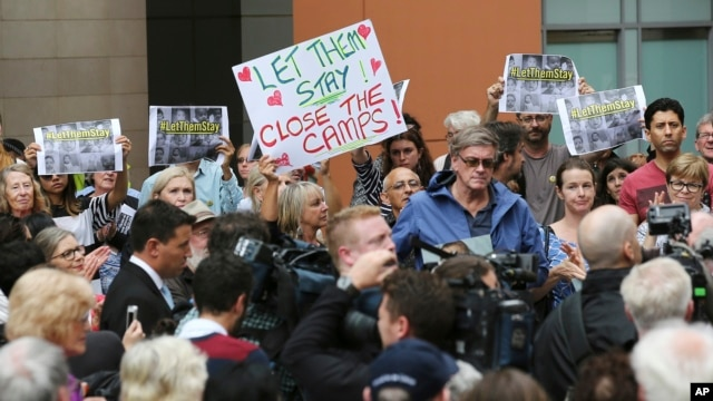 Protestors against asylum-seekers being deported, gather for a rally in Sydney, Australia, Feb. 4, 2016.