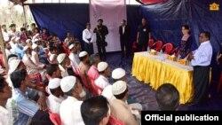 Shugabar Myanmar a ganawarta da Musulmai 'yan Rohingya