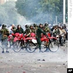 Iranian Revolutionary Guard on motorcycles.