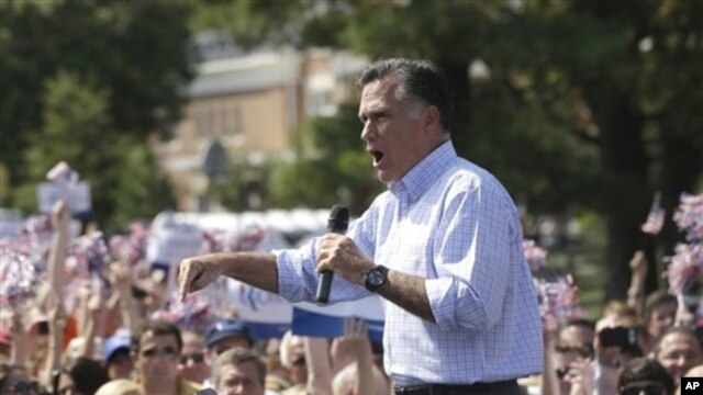 Republican presidential candidate, Mitt Romney campaigns at Van Dyck Park in Fairfax, Va., Sept. 13, 2012