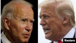 អតីតអនុប្រធានាធិបតី Joe Biden (ឆ្វេង) និងប្រធានាធិបតី ដូណាល់ ត្រាំ។