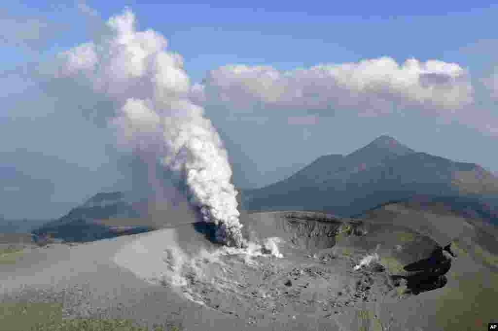 The Shinmoe volcano is seen after eruption in Kirishima, Kagoshima prefecture, Japan in this photo taken by Kyodo on October 11, 2017.