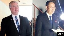 Tư liệu: Trưởng đoàn thương thuyết hạt nhân của Triều Tiên Kim Myong Gil bên ngoài sứ quán Triều Tiên ở Stockholm, ngày 5/10/2019. REUTERS/Philip O'Connor