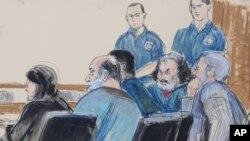 Kahlid al-Fawwaz, Adel Abdul Bary bersama pengacara mereka Andrew Patel di pengadilan federal di Manhattan, New York, 6 Oktober 2012 (Foto: dok).