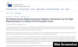 Thông cáo của EU về Cơ chế của EU về Trừng phạt Vi phạm Nhân quyền Toàn cầu.