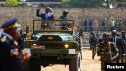 Perezida w'Uburundi, Pierre Nkurunziza igihe Uburundi bwibuka imyaka 55 bumaze bwikukiye, Bujumbura, Burundi, itariki 1/07/2017.