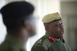 Lesotho's army Major General Lineo Poopa addresses the media at the Makoanyane Barracks in Maseru, on Sep. 1, 2014.