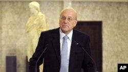 黎巴嫩总理纳吉布.米卡提在记者会上